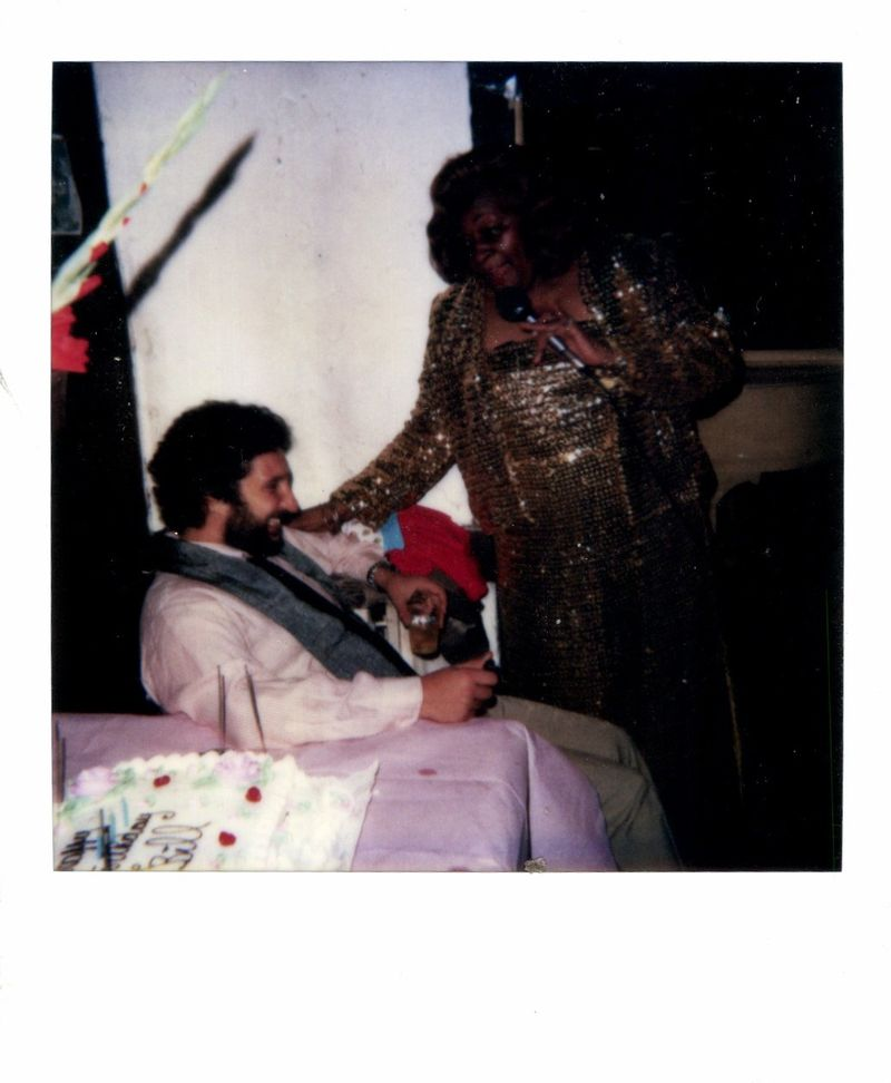 Princess Pamela serenades birthday boy Bill Lichtenstein in October 1986. © Bill Lichtenstein