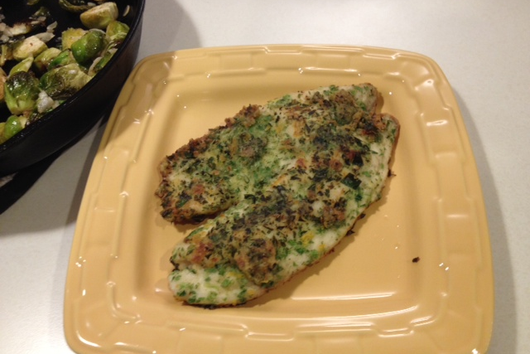 Brussels Sprouts Crusted Tilapia