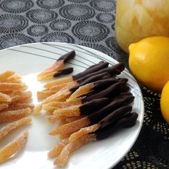 Candied Meyer Lemon Peels in Honey-Vanilla Bean Syrup