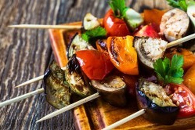 Garlicky Grilled Vegetable Skewers by Carrington Farms