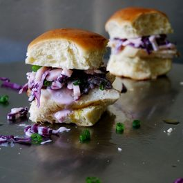 Chicken Sandwich with Red Cabbage Coleslaw and Orange flavoured Olive Oil