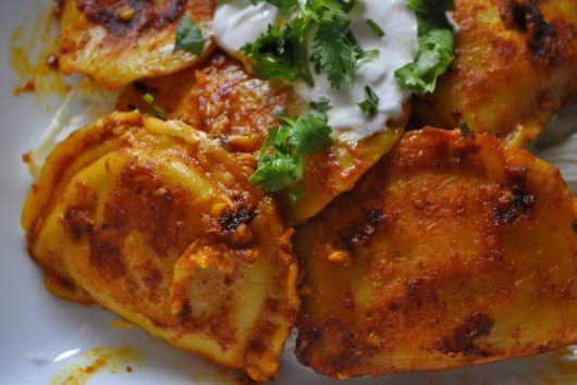 Spicy Dumplings with Sour Cream
