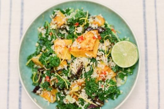 Wild rice, kale and roasted squash salad with avocado and chilli dressing