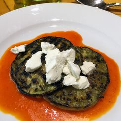 Grilled Green Tomatoes with Red Pepper Coulis & Goat Cheese