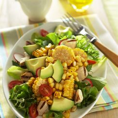 Spicy Roasted Corn, Avocado and Chicken Salad