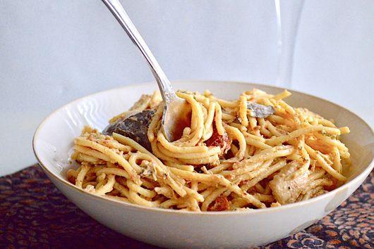 Creamy Tuscan Chicken Spaghetti
