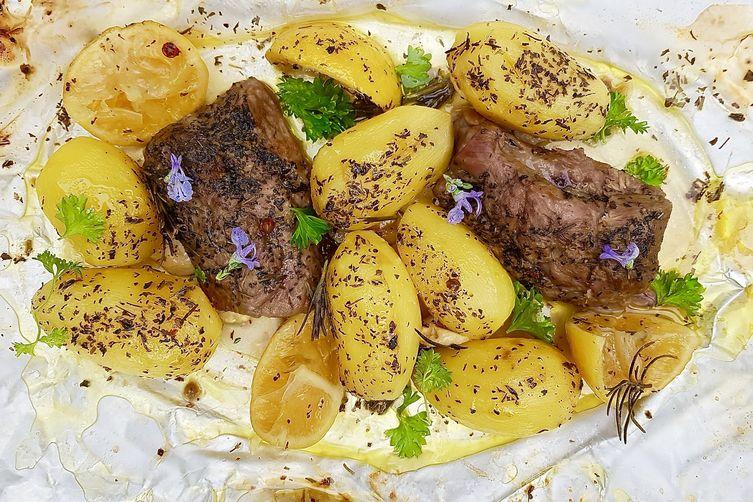 Lamb and Potatoes en papillote