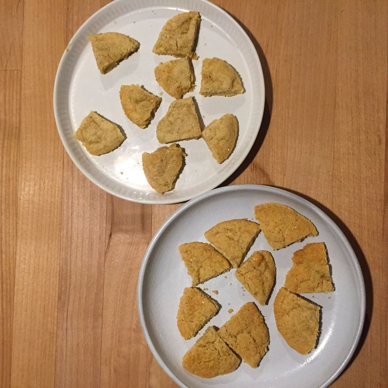 Our taste test: pasty salted batch in the back; their crispy unsalted counterparts in the front.