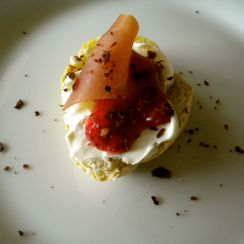 Crostini with Mascarpone, Prosciutto and Strawberry Jam