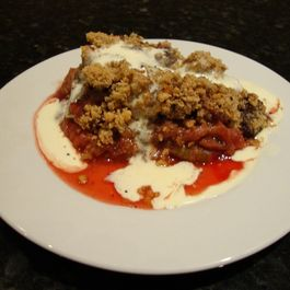 rhubarb chocolate hazelnut crumble