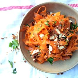 Shaved Carrot Salad with Beluga Lentils and Toasted Almonds