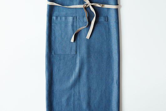 Slate-Blue Café Apron with Slate Ties
