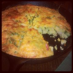 Spinach and Shrimp Cornbread Skillet