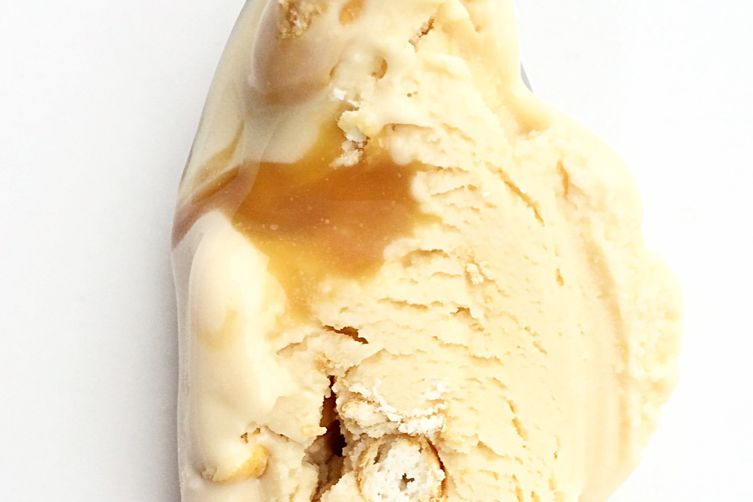 Salted pretzel caramel ripple caramel ice cream