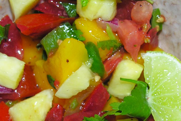 A luscious fruity sunset salsa