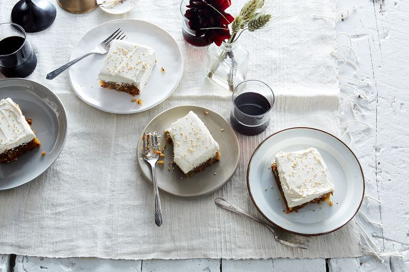 Olive Oil Carrot Cake with Sesame Buttercream