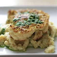 Curried Cauliflower Steak and Chickpea Mash with Spicy Green Chutney