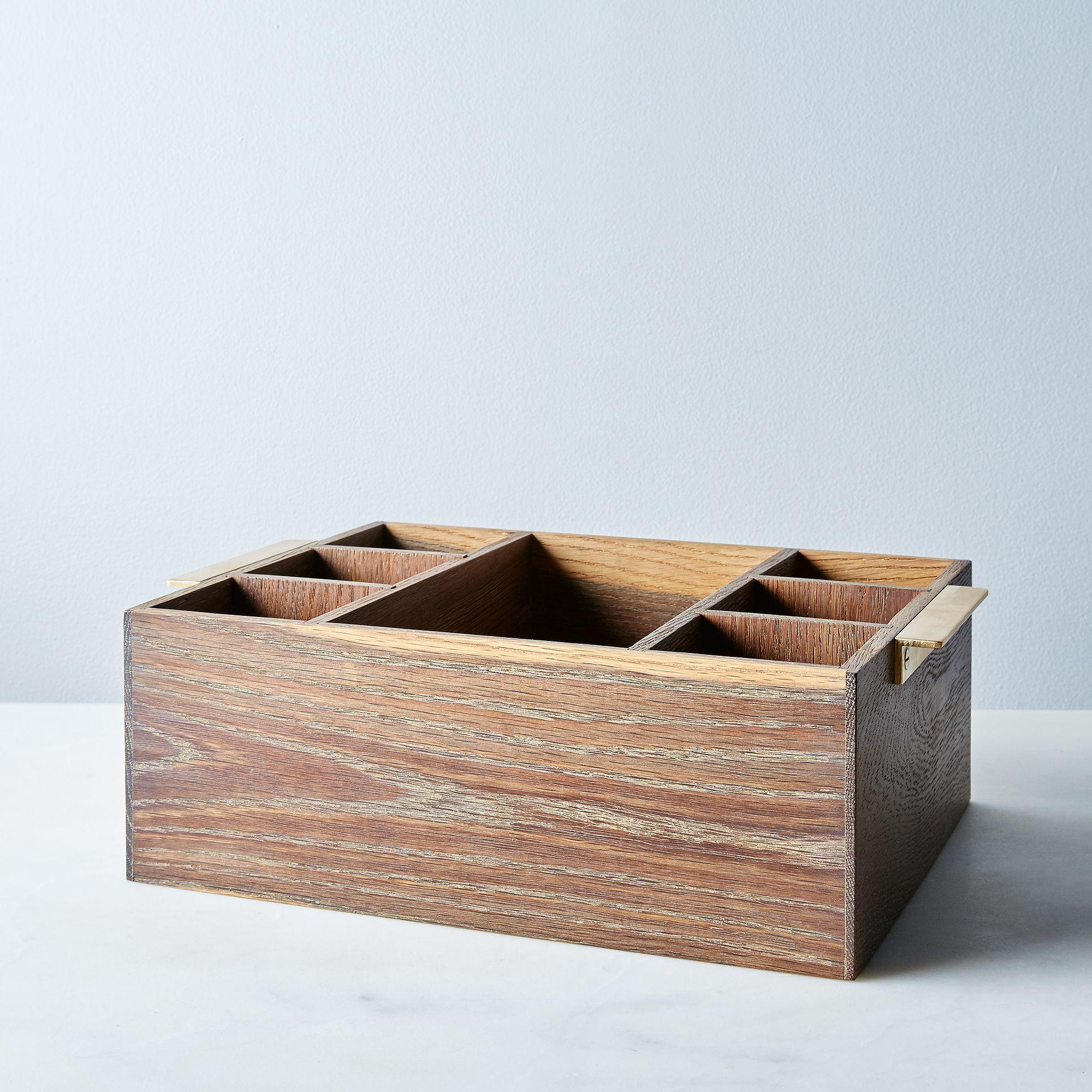 Wooden & Brass Flatware Holder Large Fumed Oak, Brass Handles