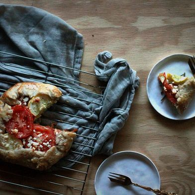 Vine Tomato and Summer Squash Galette with Rosemary-Pea Pesto
