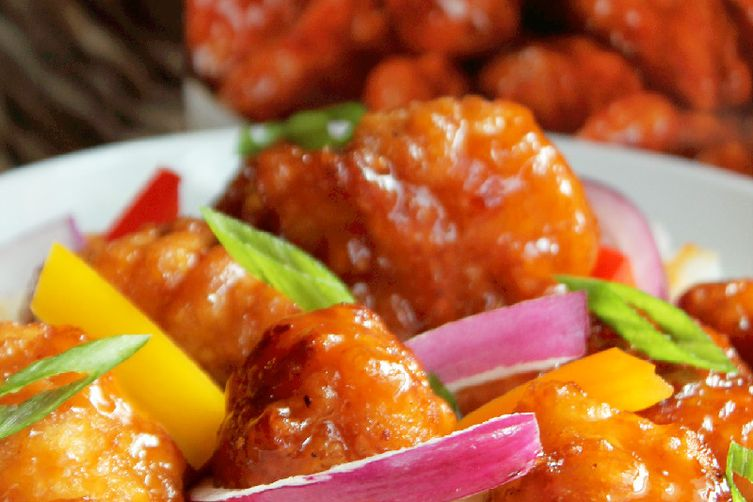 General Tso's Chicken with Peppers and Onion