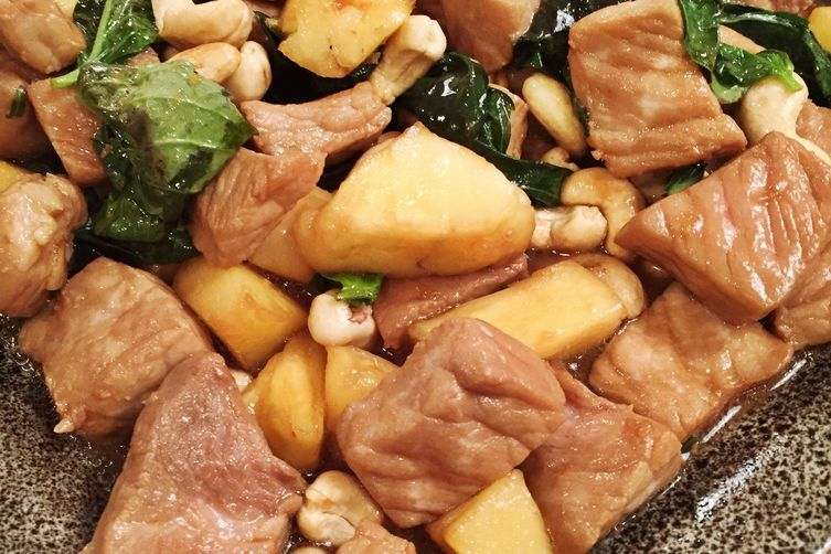 Pineapple Basil Chicken with Roasted Cashews