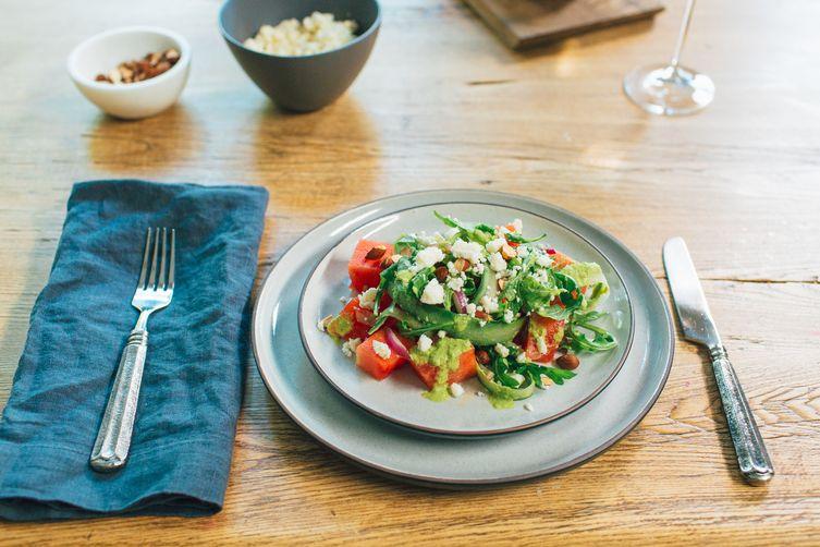 Watermelon Salad with Basil-Lime Vinaigrette
