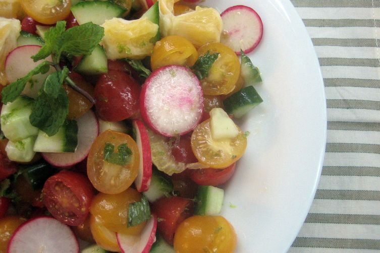 Meyer Lemon, Radish, Cucumber and Tomato Salad with Citrus Dressing