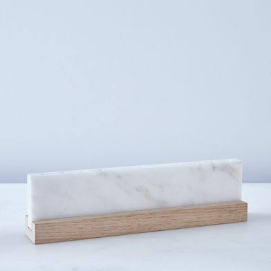 Vermont White Marble & Wood Menorah