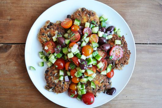 Fava Bean and Feta Fritters with Greek Salad