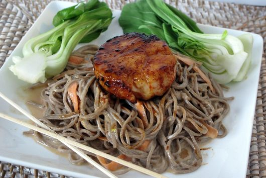 Tahini Soba Noodles with Jumbo Carmelized Sea Scallop