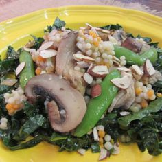 Kale Salad with Mushrooms and Pearl Couscous