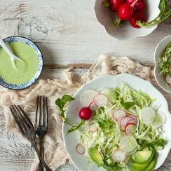 Cabbage, Radish and Turnip Salad with Spicy Dressing