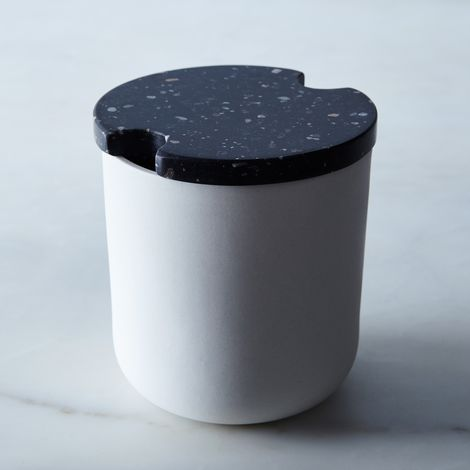 Black Corian & Stoneware Garlic Jar