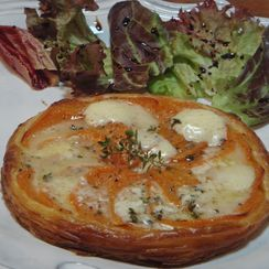 Very Thin Puff Pastry Tart with Sweet Potato and Sain-Andre Cheese