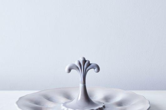 Grey Swirl Glass Deviled Egg Tray