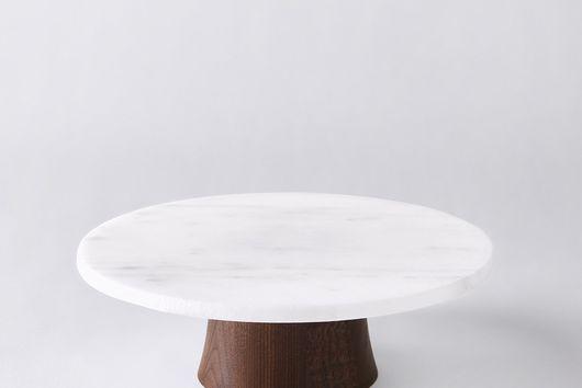 Marble & Walnut Rotating Cake Stand