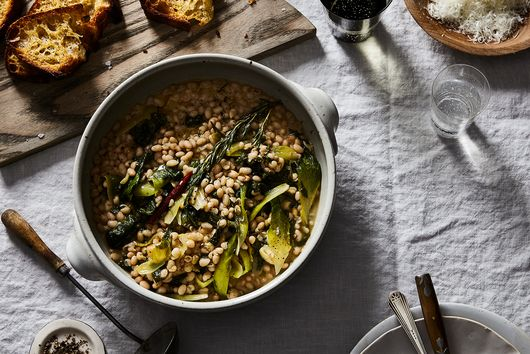 Stewy White Beans with Escarole, Garlic, and Sizzled Rosemary