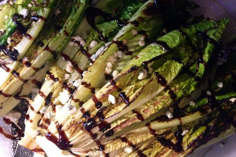 Grilled Romaine with Smoked Blue Cheese and a Balsamic Reduction