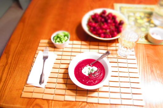 Chilled Beet Soup with Chevre Cream and Garnishes