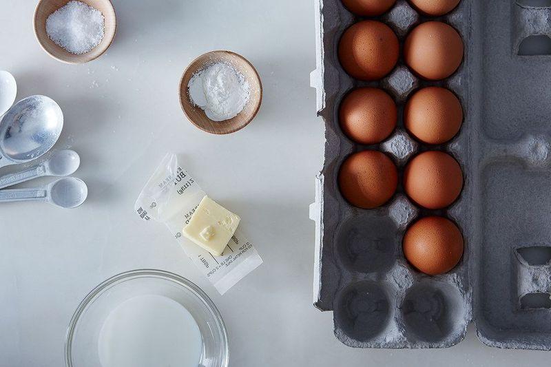 A Genius trick for creamy, dreamy scrambles: cornstarch! And a lot of butter.