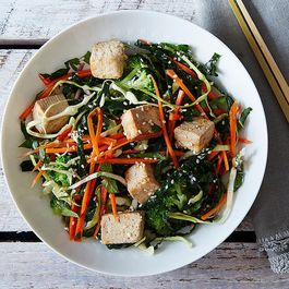 Citrus Ginger Tofu Salad with Buckwheat Soba Noodles + Matcha Snickerdoodles