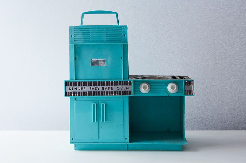 The original November 1963 model of the Easy-Bake Oven, caked in residue.