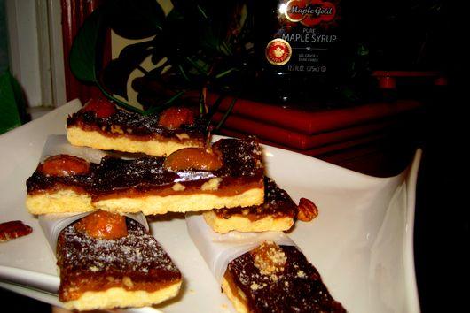 Maple, Caramel-Dark Chocolate- Pecan Bars