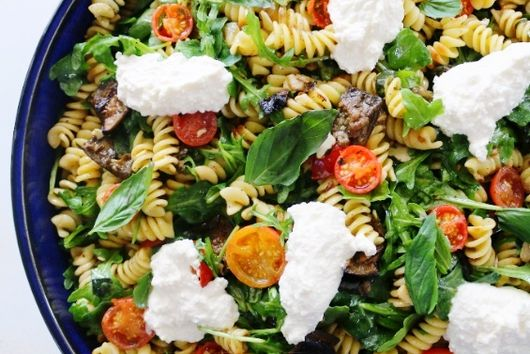 Roasted Vegetable Pasta with Basil and Ricotta