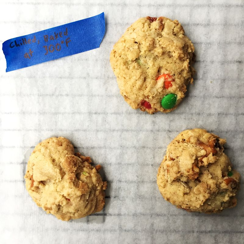 Chilled dough + a cooler oven = a paler, puffier cookie.