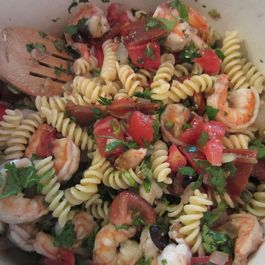 Julian's pasta with shrimp, capers, olives and fresh tomatoes