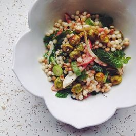 Israeli Couscous Salad with Roasted Fresh Chickpeas, Radishes and Greens.