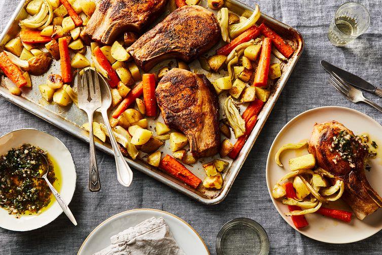 Sheet Pan Pork Chops & Vegetables with Parsley Vinaigrette