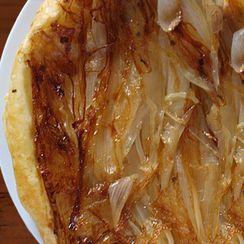 Tatin Tart with Caramelized Onions, Gorgonzola and Mustard