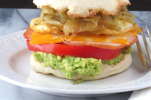 egg, cheese and avocado sandwich